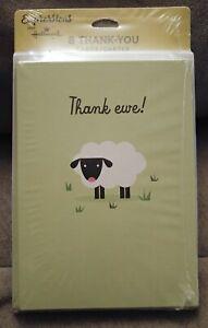 8 Hallmark Expressions Thank Ewe Sheep Lamb Thank You Cards & Envelopes Blank