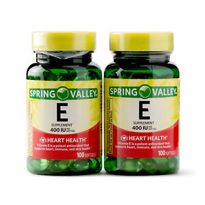 2 Pack Spring Valley Vitamin E, 400 IU - 100 Softgels Each (200 Softgels Total)