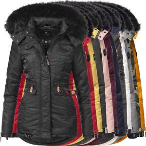 Navahoo warmer Damen Winter Parka Stepp Mantel Jacke Kunstpelz Kapuze Schätzchen