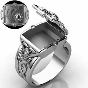 Men Retro Secret Compartment Locket Rings Crystal Birthday Party Jewelry Gifts