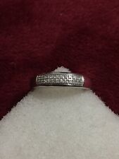 925 Sterling Silver Diamond Band Round Stones Prong Set Size 7