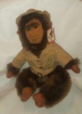 "Vintage Safari Monkey Plush Kid's Toy Shalom Toy Co. 1970'S 12"" Sitting Jacket"