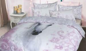 Unicorn Lilac King Polycotton Duvet Cover with Pillow Cases Bedding Set