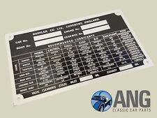 DAIMLER V8-250, 2.5 V8, MAJESTIC, DS420 CHASSIS NUMBER & LUBRICANTS METAL PLATE