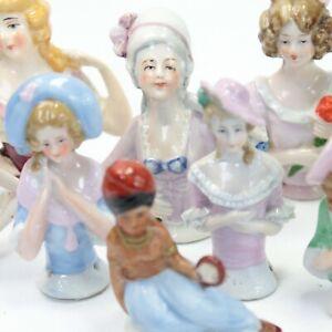 Antique porcelain collection of 9 pin cushion half dolls Art Deco Victorian