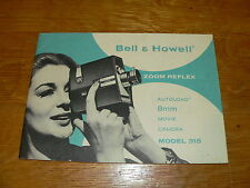 Original Bell & Howell model 315 Zoom Reflex Movie Camera Manual~Excellent Cond.