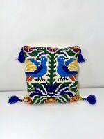 Vintage Needlepoint Pillow Yarn Colorful Birds Scandinavian Tassels