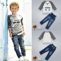 2pcs Toddler Kids Baby Boys T-shirt Tops Denim Jeans Pants Clothes Outfit Set