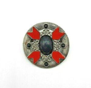 Vintage Metal Brooch Black Cabochon with Red Enameled Details