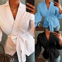 UK Women V-neck Long Sleeve Club Blouse Tops Ladies Bandage Wrap Over Shirt 8-26