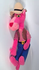 "Vintage 1980 Pink Panther Cowboy Doll Plush Stuffed 20"" Mighty Star"