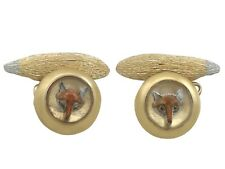 Antique Essex Crystal and 21 ct Yellow Gold 'Fox' Cufflinks 1890s