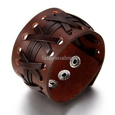 Punk Rock Styple 40mm Brown Fauxy Leather Cuff Men's Women's Bangle Bracelets