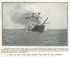 1905 Fire At Sea, British Boat Andes, Hull, Crew Escape Lifeboat