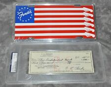 Leo Fender Autographed 1966 Check w/ Fender Licence Plate PSA Authenticated