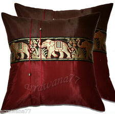 2 Thai Silk Elephant Decorative Pillow Cushion Cover Throw  Burgundy