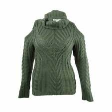 $99 American Rag Juniors' Olive Green Cold Shoulder Turtleneck Sweater Size XS