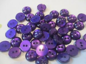 LOT OF 50 PURPLE SHINY COLOR 3/8 INCH 2 HOLE BUTTONS, NEW
