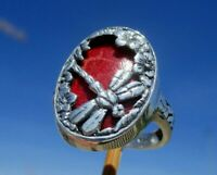 Koralle aus Indonesien - Ring Gr. 17,5 - Silber 925 -. Libelle !