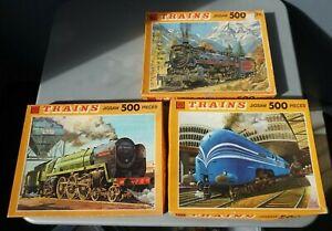 3x Vintage KG 500 Piece Jigsaw Puzzle Trains Series COMPLETE coronation scot