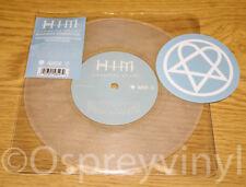 """HIM Vampire Heart Un Played Clear Glitter 7"""" vinyl single + Sticker + Stickered"""