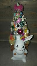 Vintage Easter Bottle Brush Tree Bunny Planter Glass Ornament Jewelry Decoration