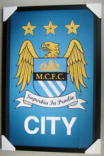 """MANCHESTER CITY FC framed POSTER Ready to Hang """"CREST"""" BRAND NEW"""