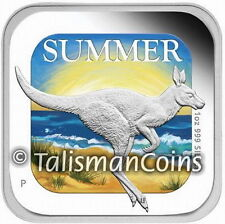 Australia 2013 Four Seasons Australia Square #1 Summer Kangaroo Silver $1 Proof