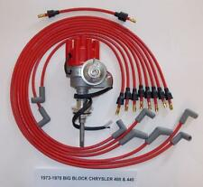 CHRYSLER 440 1973-1978 RED Small Female Cap HEI Distributor & Spark Plug Wires