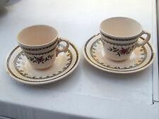Deux Villeroy et Boch Mettlach GESCHUTZT tasses et soucoupes Motif Floral