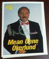 Mean Gene Okerlund Signed 1990 WWF Classic Card #51 WWE Pro Wrestling Autograph