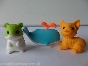 Novelty Japanese IWAKO Puzzle Erasers Rubbers - IWAKO Animal Eraser Sets