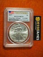 2017 AMERICAN SILVER EAGLE PCGS MS70 FIRST DAY OF ISSUE FLAG FIRST STRIKE LABEL