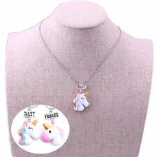 2Pcs Girl Unicorn Charm Pendant Necklace Best Friend Choker Kids Women Jewelry
