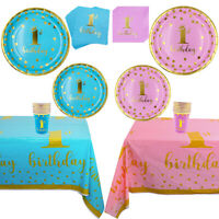 1st Birthday Party Disposable Tableware Tablecloth Plate Napkin Cup Kids Favor