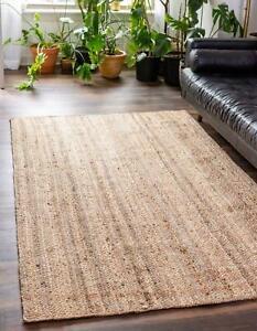Rug Jute Natural Square Shape 100% Handmade Braided Home Decorative Look Rug