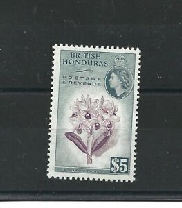 BRITISH HONDURAS  1953 - 62  S G 190  $5  PURPLE & SLATE   MH CAT £48