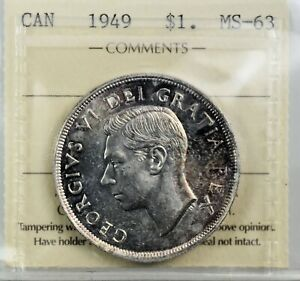 CANADA: King George VI 1949 Silver Dollar ; ICCS MS-63.