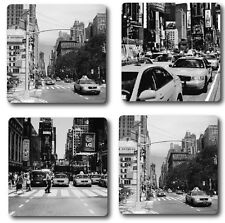 NEW YORK INSPIRED COASTERS - HIGH QUALITY - SET OF 4 - BLACK AND WHITE