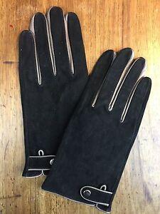 BNWOT 100% Soft Goat Suede & Nappa Silver Tipped Trim SIZE 8/M Glove