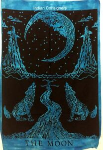 Cotton Tapestry Indian Small The Moon Wolf Design Wall Hanging Poster Fabulous