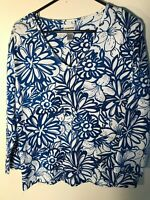 Chico's Floral Art Soft Stretch Pull-On Long Sleeve Woman's 2/M