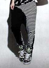 Women Fashion Dance Performance Costume Stripe Spliced Panelled Hip Hop Trousers