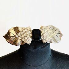 Fabulous Ornate Art Deco Rhinestone Hair Clip Silver Black and Sparkly