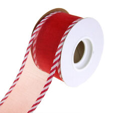 Sheer Wired Organza with Candy Cane Trim, Red, 1-1/2-Inch, 10 Yards