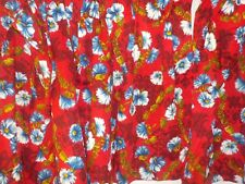 Pr Vintage Red & Blue Barkcloth Curtain Panels Mid Century Hawaiian Floral Exc!