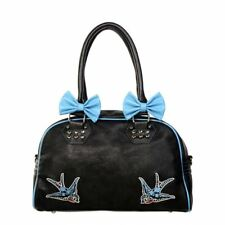 Banned Blue Swallows & Bows Embroidered Black Retro Hand Bag
