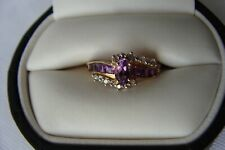 10K SOLID YELLOW GOLD PURPLE AMETHYST DIAMOND ACCENTS Size 7 Ring 1.6 Grams