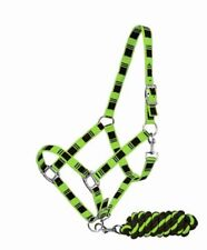LIME GREEN Full Size 3 Ply Nylon Horse Halter w/ Check Design & Braided Lead!!!!