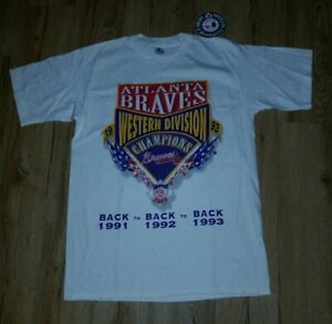 Atlanta Braves 1993 Western Division 3 x Champs Starter T-Shirt men's sz-Medium